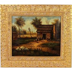 Unsigned oil on canvas painting depicting black
