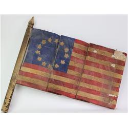 Wood carved American flag