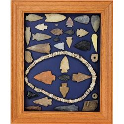 Framed collection of Native American stone