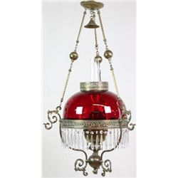 Victorian hanging parlor lamp