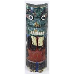 Antique Alaskan carved wooden totem pole