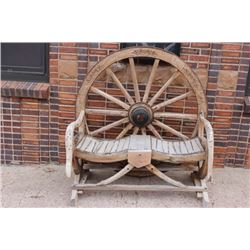 "Large wooden wagon wheel bench 48"" X 53"""