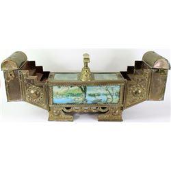 Vintage brass portable shoe shine stand