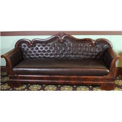 Restored 1870's Empire sofa in flame mahogany