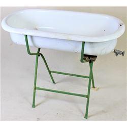 Antique enamel baby bathtub