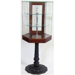 Beautiful antique octagon oak and glass showcase