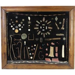 Large framed collection of relics
