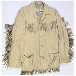Vintage buffalo leather fringed jacket,