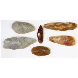 Collection of 6 stone paleolithic scrapers