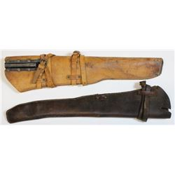 Collection of 2 leather scabbards