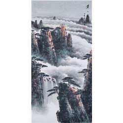Yanfu Chinese Watercolor Landscape Scroll