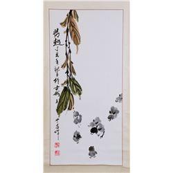 Wang Shichang Chinese Watercolor Scroll