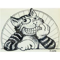 US Pop Art Ink on Paper Cat Signed Robert Crumb
