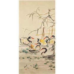 Wu Guanzhong Chinese 1919-2010 Watercolor Scroll