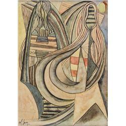 Cuban Surrealist Cubist Gouache Signed Wi Lam