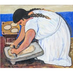 Mexican Gouache on Paper Signed Diego Rivera