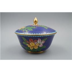 A Bronze Matrix Cloisonne Enamel Bowl and Cover.