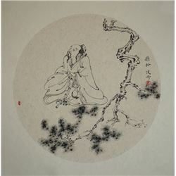 "A Chinese Ink Painting ""Listening to Pine Breeze"" by Su,Jiangang."