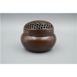 "A ""Zhang, Mingqi"" Mark Bronze Hand Warmer."