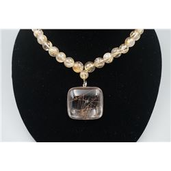 A 19th Century Old Hair Quartz Crystal Pendant  with Necklace.