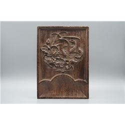 "A Rosewood Carve ""Lotus and Fish"" Decoration."