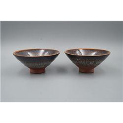 A Pair of Japan Made Fur Temmoku Bowls.
