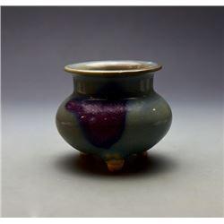 """""""Jun"""" Kiln Purple-Red-Splashed Incense Burner with Three Foot."""