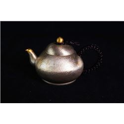 "A ""Ding Xiang"" Silver Teapot by Shi,Yaqing with Certification 1095."