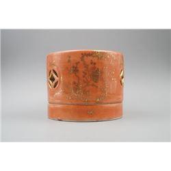 "A Coral-Ground Gilt-Decorated ""Prunus Mume"" Fragrance Box."