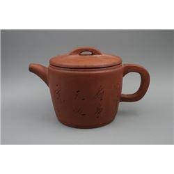 "A Late Qing Dynasty ""Man Sheng Ji"" Old Han Brick Red Clay Teapot."