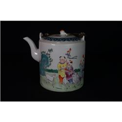 "An Old Famille-Rose ""Figure"" Loop-Handled Teapot."
