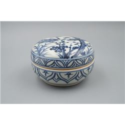 "A Blue-and-White ""Three Friends of Winter"" Porcelain Box and Cover."