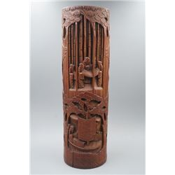 An Old Bamboo Carved High Relief Hat Stand.