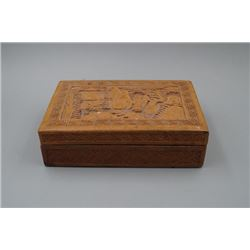 "A Late 19th Century Old Wood Carved ""Figure"" Lacquer Box."