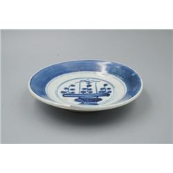 "A Qing Dynasty Blue-and-White ""Floral"" Plate."