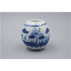 A Late Qing Dynasty Small Jar for Bird Feeding.