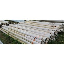"Multiple Bundles of White PVC Pipes, 20'2"", 5.5"" Dia, Approx. Qty 75"
