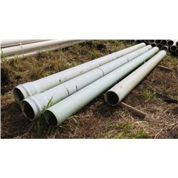 "Gray PVC Pipes 20'8"", 11"" Dia. (one shorter than the others), Qty 4"