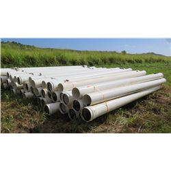 "Multiple Bundles of 250mm (Metric) White PVC Pipes 20'4"", Approx. 70"