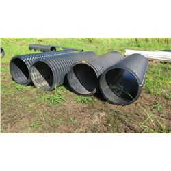 Qty 4 Black Culvert Pipes - Varying Lengths