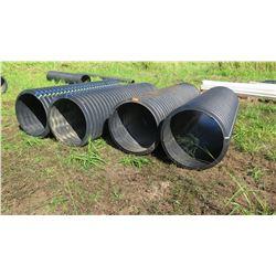 Qty 4 Black Culvert Pipes - Varying Lengths