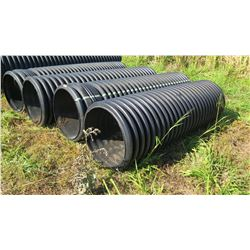 Qty 4 Black Culvert Pipes 10  Length, 30  Dia. (one is shorter) - 1 has hole, see pictures