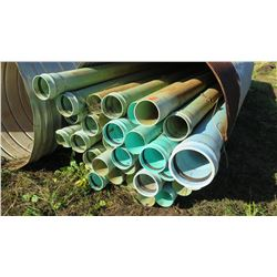 "Approx. 27 Blue PVC Pipes 20'5"" Length (varying diameters: 6', 6'5"", 9"")"