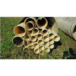"Approx. 27 White PVC Pipes, Multiple Lengths/Diameters, 20'7"", etc. Dia: 6"", 6'5"", 8"", 12"" (metal pi"