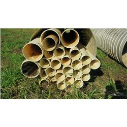 "Approx. 27 White PVC Pipes, Multiple Lengths/Diameters, 20'7"", etc. Dia: 6"", 6'5"", 8"", 12"" (metal pi"