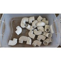 Contents of Tub: White PVC Elbows, Approx. Qty 18