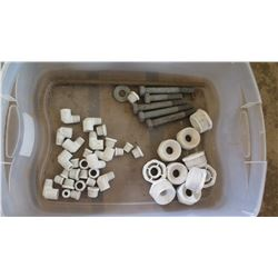 Contents of Tub: PVC Fittings & Lag Bolts