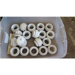 Contents of Tub: White PVC Couplers, Approx. Qty 20