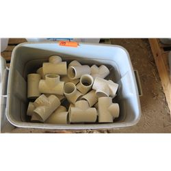 Contents of Tub: PVC T Fittings, Approx. Qty 14