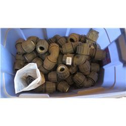 Contents of Tub: Black PVC Elbow Fittings